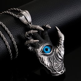$enCountryForm.capitalKeyWord NZ - Cool Stainless Steel Dragon Claw Hand Pendant Necklace For Men Heavy Mens 60CM Chain Necklaces & Pendants With Blue Eye Jewelry