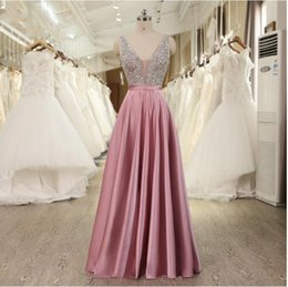 $enCountryForm.capitalKeyWord Australia - Formal Dresses Long Evening Dress V-neck Beading Bodice Sexy Graduation Prom Gowns With Backless 2019 Fast Shipping Real Pictures