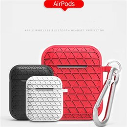 anti dust plug cover Australia - For Apple airpod Silicone Case Diamond Pouch With Anti-dust Plug key chain Shockproof Soft silicon cover for Bluetooth earphones Headset W95