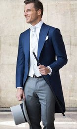 navy blue tuxedos for cheap Australia - Navy Blue Wedding Tuxedos Slim Fit Suits For Men Groomsmen Suit Three Pieces Cheap Prom Formal Suits (Jacket+Pants+Vest+Tie) 267