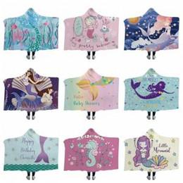 MerMaid hands online shopping - Mermaid Blanket Mermaid Hooded blankets Cloaks Cartoon Hippocampus Thickened Warm Home Textiles Beach Towel Winter Hat Blankets GGA1481