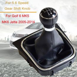 Toptan satış Araç Aksesuarları Vites Kol Düğmesi değiştiren 5 Hız 6 Hız İçin Volkswagen VW Golf 6 MK6 için Jetta MK5 ile tozluk Boot Kapak