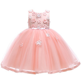 chiffon 3d flower tutu Australia - Girls Party Dress Kids 3D Rose Tulle Party Wedding Gown Fashion Design Flower Girls Princess Dresses