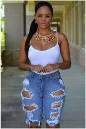 Wholesale womens jean shorts resale online - Womens Hight Waist Short Jeans Designer Washed Ripped Jeans Fashion Summer Knee Length Jeans Women Clothing