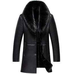 sheep collar jacket men UK - Russian Winter Fur Collar Leather Jacket Men New Business Casual Medium Long Windbreaker Coat Male Sheep Skin Jacket 5XL