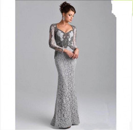 $enCountryForm.capitalKeyWord Australia - Plus Size Mother's Formal Dress 2018 Grey Long Sleeves Mermaid Mother of the Bride Dresses Beaded Saudi Arabic Long Evening Party Gowns