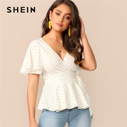 ruffle back blouse Australia - SHEIN Cutout Back Wrap Belted Peplum Dot Blouse 2019 Boho Short Sleeve Knot Women Summer V neck Womens Tops and Blouses