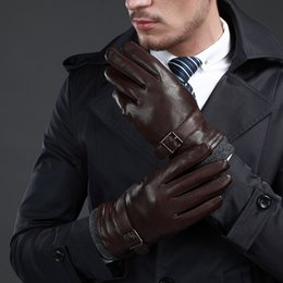 men warm mittens Canada - New Leather Winter Guantes Warm Sheepskin Gloves Men Leather Gloves Simple Prevent Cold Gloves For Men Kwa559 T190618