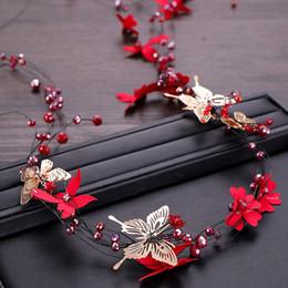 $enCountryForm.capitalKeyWord Australia - Fashion Handmade Jewelry Wedding Bride Bridal Butterfly Red Flower Crystal Tiaras Hair Accessories Headpiece Headbands Hairbands Fascinator