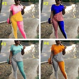 Letter Blocks Australia - Summer Letter Print block Color tracksuit Women Casual Suits Short Sleeve T-shirt Pants Leggings 2pcs set Patchwork Outfit S-3XL A3154