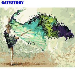 Dance art painting online shopping - GATYZTORY Dancing Frame Diy Painting By Numbers Kit Modern Wall Art Handpainted Oil Painting Picutre For Home Decor Unique Gift