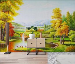 Discount art oil painting classic 3d wallpaper custom photo Pure hand-painted natural forest landscape oil painting art mural wallpaper for walls 3 d