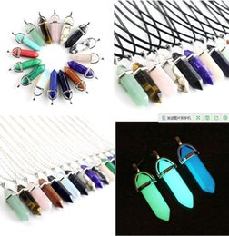 Prisms Pendants online shopping - New Bullet Shape Natural Stone Necklaces Pendants Hexagonal Prism Quartz Turquoise Crystal Gems Necklaces Jewelry For Women Men