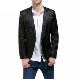 Wholesale vogue outwear for sale – winter Men Vogue Jacquard Blazer Dobby Man Long Sleeve Solid Casaul Single Button Smart Casual Blazer male Suits Jacket Coats Outwear
