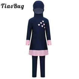 $enCountryForm.capitalKeyWord Australia - TiaoBug Kids Teens Long Sleeves Sweetheart Printed Full Cover Conservative Hijab Burkini Swimwear Girls Swimsuit with Pants Set