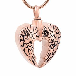 Wholesale steel city resale online - IJD9764 Stainless Steel Angel Wings Cremation for Ashes Urn Commendable City Necklace Pendant Shape with Snake Chain Jewelry