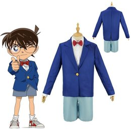 adult anime games Australia - Kids Adult Anime Detective Conan Case Closed Kudou Shinichi Conan Cosplay Costumes boys Men school uniform suit Halloween outfit