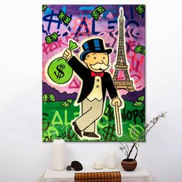 "$enCountryForm.capitalKeyWord Australia - Alec Monopoly Graffiti Handcraft Oil Painting on Canvas,""Eiffel Tower"" home decor wall art painting,24*36inch stretched"
