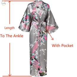 Kimono sexy long white online shopping - Women Sexy Batwing Sleeve Long Wedding With Pocket Robe Bride Bridesmaid Dressing Gown Rayon Kimono Bathrobe Large S Night Dress