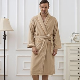 6be3ad32f5 Bathrobe Men Cotton Thick Towel Fleece Male Dressing Gown Towel Sleepwear  Pure Color Nightgown Kimono For Long Flannel Pyjamas