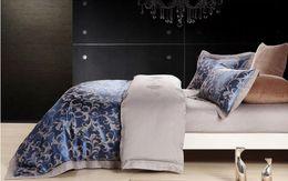 Chinese Jacquard Bedding NZ - Wholesale- 4pcs jacquard mulberry silk cotton bedclothes bedding sets queen king size Quilt duvet cover set bedsheets cotton bedcover
