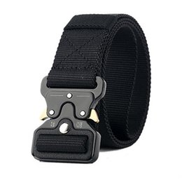 Discount duty free belts Combat Tactical Belt Men Thicken Metal Buckle Nylon Belts Heavy Duty Molle Carry Survival Waist Belt
