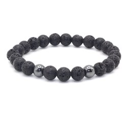 Black Rock Beads Australia - Hematite Beads 8MM Black Lava Stone Beads Bracelet Volcano Rock DIY Essential Oil Diffuser Bracelet for Women Men Jewelry