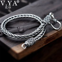 925 silver bracelet 5mm NZ - V.ya 4mm 5mm Thai Silver Male Bracelets 100% 925 Sterling Silver Snake Chain Bracelet For Men Vintage Style Fine Jewelry MX190727