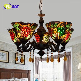 grape glass NZ - FUMAT European Creative Dragonfly Tiffany Stained Glass Living room Dining room bedroom bar Grape 5 Crystal chandelier