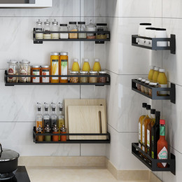 Wholesale kitchen rack Stainless steel spice rack free punching wall-mounted oil salt sauce vinegar storage bathroom wall shelf