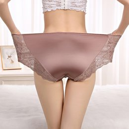 9fa7550fc Thin Large Size High Waist Panties for Women Underwear Ladies Big Size  Briefs Plus Floral Satin Sexy Lace Panties Female