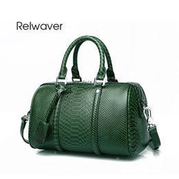 Vintage leather computer bag online shopping - Relwaver Women Genuine Leather Handbags Luxury Python Pattern Handbag Vintage Boston Women Leather Handbags Small Green Tote Bag