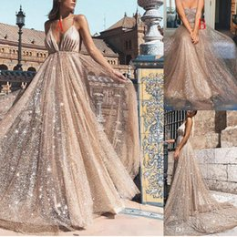 special roses UK - Sparkly Rose Gold Sequins Prom Dresses Spaghetti Straps Backless Floor Length A Line Formal Evening Gowns Special Occasion Dress Vestidos