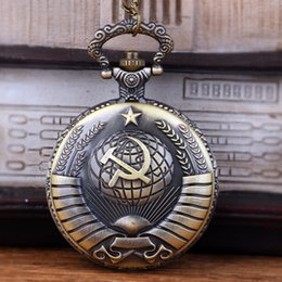 Necklace For Christmas Gift Australia - Vintage USSR Soviet Badges Sickle Hammer Pocket Watch Necklace Bronze Pendant Chain Clock Fashion Women Men For Christmas Gift