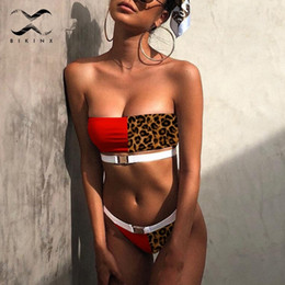 lycra leopard suit NZ - Bikinx Leopard Red Swimwear Women 2019 Splice Buckle Bikini Set Sexy Bandeau Swimsuit Female Thong Bathing Suit Summer Bathers Y19072601