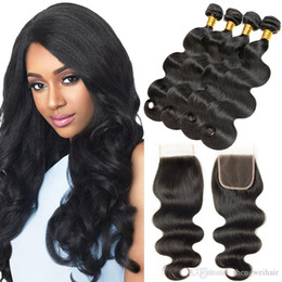 hair weaving sewing machine Australia - Body Wave Brazilian Hair Bundles 4 Pieces With Lace Closure Unprocessed Virgin Human Hair Weave Natural Black Sew In Hair Extensions