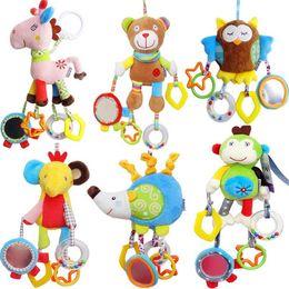 Owl Baby Rattles Australia - Baby Boy Girl Cute Cotton Rattles Infant Animal owl bear monkey Hand Bell Kids Plush Toy Development Gifts Hot Sale