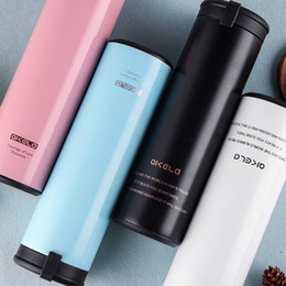 Wholesale korean stocking girls for sale - Group buy 450ml Girls Stainless Steel Vacuum Flask Female New Portable Hand Cup Korean Creative Gift Student Water Bottle Thermoses