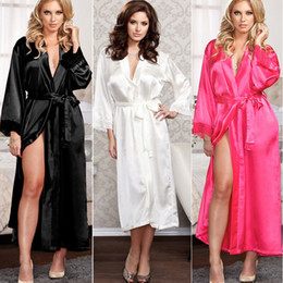 Women Ladies Sexy Long Silk Kimono Dressing Gown Bath Robe Nightgowns Sleepshirts Nightdress Cotton Black White Rose on Sale