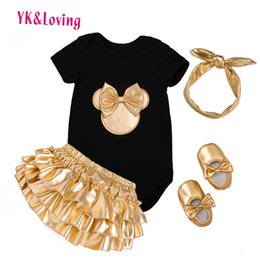 $enCountryForm.capitalKeyWord NZ - Baby Girl 4pcs Clothing Sets Black Cotton Rompers Golden Ruffle Bloomers Shorts Shoes Headband Newborn Clothes Q190520