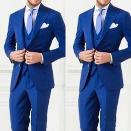 New Fashion Royal Blue Groom Tuxedos Groomsmen Two Button Peak Lapel Best Man Suit Wedding Men's Blazer Suits (Jacket+Pants+Vest) XF258