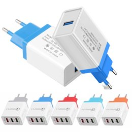 $enCountryForm.capitalKeyWord Australia - 3 USB Adapter Q3.0 Quick Charger US EU Plug Colorful Wall Charger Plugs 3 Ports 2.1A - 3.1A for Smart Cellphone DHL Free