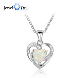 $enCountryForm.capitalKeyWord Australia - 2017 New Romantic Woman 925 Sterling Silver&opal Necklace&pendants Heart Design Best Women Jewelry Gift Jewelora Ne101927 J190530