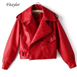 street wear jackets 2019 - New Autumn Women Faux Leather Jacket Pu Motorcycle Biker Red Coat Turn down Collar Loose Street wear Black Punk Outerwea