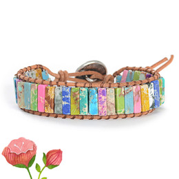 Beaded multi strand Bracelet online shopping - Bohemia Handmade Leather Wrap Bracelets Multi Color Natural Stone Beads Bracelets For Lovers Jewelry Gifts S053