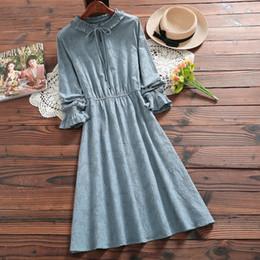 7f59bf5539 Mori Girl Spring Autumn Women Sweet Dress Bow Collar Pink Blue Ruffles  Cotton Linen Vestido Mujer Vintage Elegant Jacquard Dress