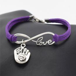 Leather Gloves For Men Australia - New Women Men Jewelry Punk Purple Handmade Braided Leather Suede Bracelet for Women Men Infinity Love 3D Baseball Glove Sports Bangles Gifts