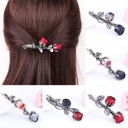 Flower Girl Rhinestone Hair Clips Australia - Hot Sale 1pc Retro Rose Flower Hairpins With Rhinestones Leaves Barrettes For Women Girls Hair Clip Hairgrips