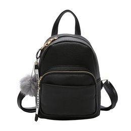 black letter pendants UK - Wobag Mini Women Backpacks Soft Pu Leather Student Fuzzy Ball Pendant Shoulder School Bags Female Small Travel Rucksack Black Y19051405