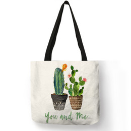 Wholesale 2019 Fashion Hot Watercolor Plant Linen Bag With Cactus Print Multi Use Tote Bag Shopping Bags For Women Lady Dropshipping